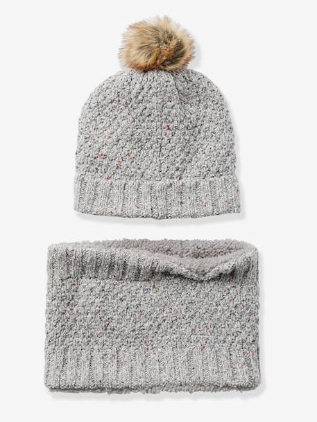 Girls' Beanie + Snood Set GREY LIGHT MIXED COLOR