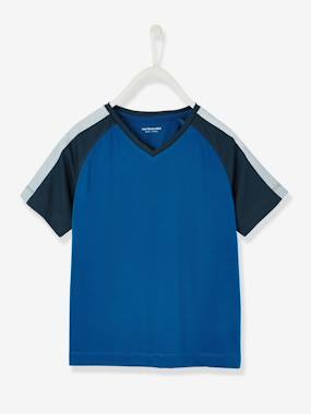Boys' Sports T-Shirt blue dark solid with design
