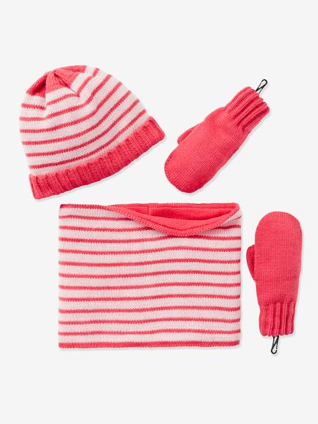 Girls' Beanie, Snood & Glove Set PINK LIGHT STRIPED
