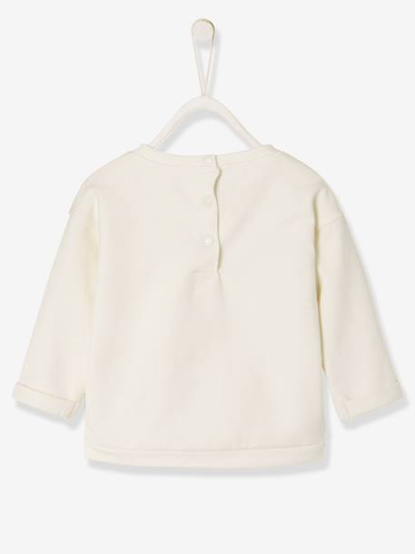 Babv Girls' Sweatshirt in Stylish Fleece WHITE LIGHT SOLID WITH DESIGN