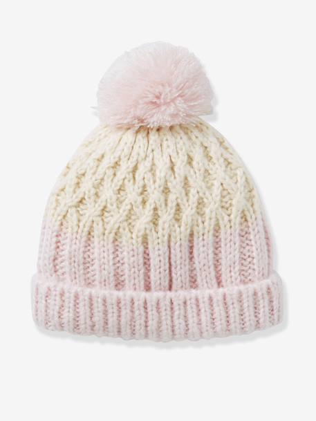 Girls' Two-Tone Beanie BEIGE LIGHT SOLID WITH DESIGN