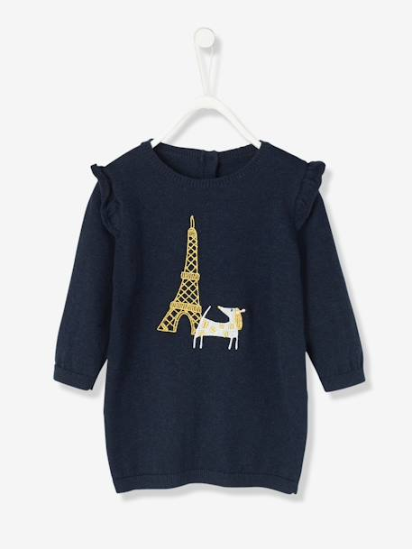 Baby Knitted Dress with Dog Embroidery BLUE DARK SOLID WITH DESIGN