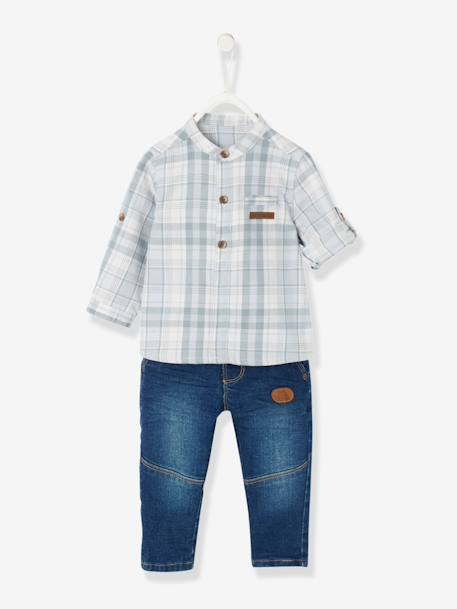 Baby Boys' Mandarin Collar Checked Shirt & Jeans Outfit Set BLUE DARK WASCHED