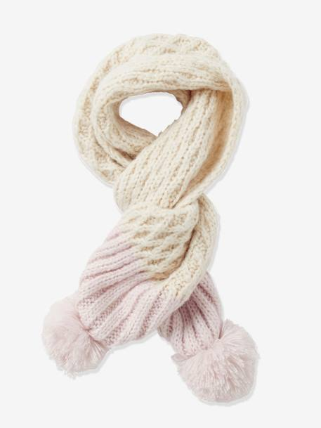 Girls' Two Tone Knit Scarf BEIGE LIGHT SOLID WITH DESIGN