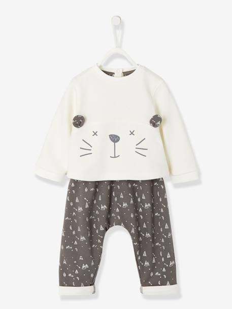 Baby Fleece Sweatshirt & Harem-Style Trousers Outfit Set BEIGE MEDIUM SOLID WITH DECOR+Ivory/dark grey+PINK LIGHT SOLID WITH DESIGN