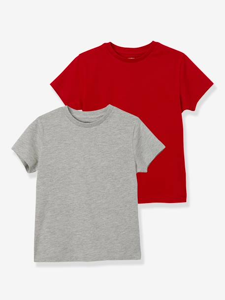 Boys' Pack of 2 Short-Sleeved T-Shirts BLUE DARK TWO COLOR/MULTICOL+RED DARK 2 COLOR/MULTICOLOR+WHITE LIGHT TWO COLOR/MULTICOL