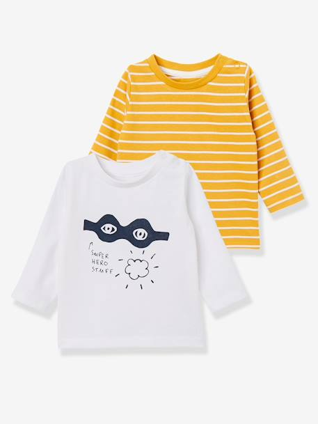 Pack of 2 Baby Girls' Long-Sleeved T-Shirts BLUE DARK TWO COLOR/MULTICOL+BROWN LIGHT 2 COLOR/MULTICOL+RED DARK STRIPED+YELLOW DARK 2 COLOR/MULTICOL