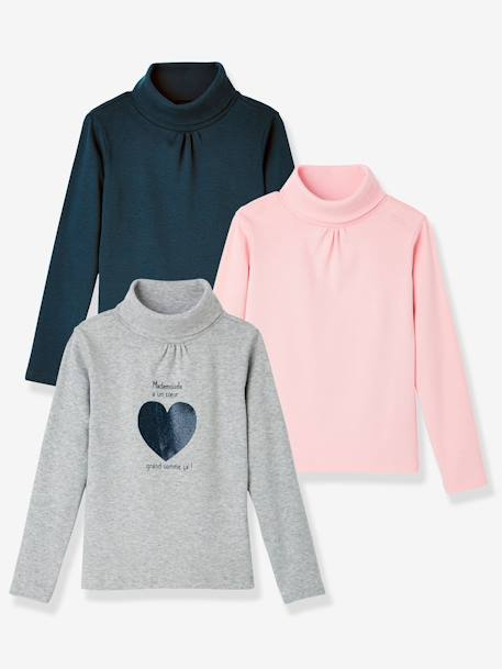 Girls' Pack of 3 Undersweaters BLUE DARK TWO COLOR/MULTICOL+GREY LIGHT MIXED COLOR+ORANGE MEDIUM 2 COLOR/MULTICOL+PINK LIGHT 2 COLOR/MULTICOL R+PURPLE MEDIUM 2 COLOR/MULTICOL+WHITE LIGHT TWO COLOR/MULTICOL