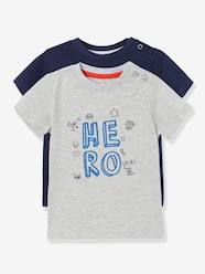 Baby-T-Shirts-Pack of 2 Baby Boys' Long-Sleeved T-Shirts with Decorative Motifs