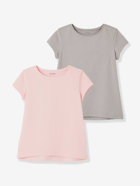 Girls' Pack of 2 Short-Sleeved T-Shirts BLACK DARK 2 COLOR/MULTICOL+BLUE DARK TWO COLOR/MULTICOL+PINK LIGHT 2 COLOR/MULTICOL R