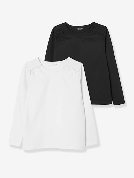 Girls' Pack of 2 Plain Long-Sleeved T-shirts BLACK DARK 2 COLOR/MULTICOL+BLUE DARK TWO COLOR/MULTICOL+GREY MEDIUM TWO COLOR/MULTICOL