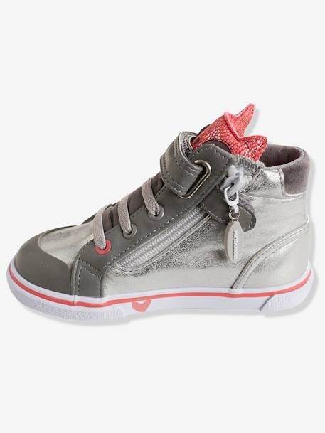 Girls' High-Top Trainers, Autonomy Collection GREY MEDIUM METALLIZED