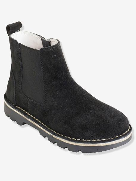 Boys' Leather Boots BLACK DARK SOLID+BROWN MEDIUM SOLID