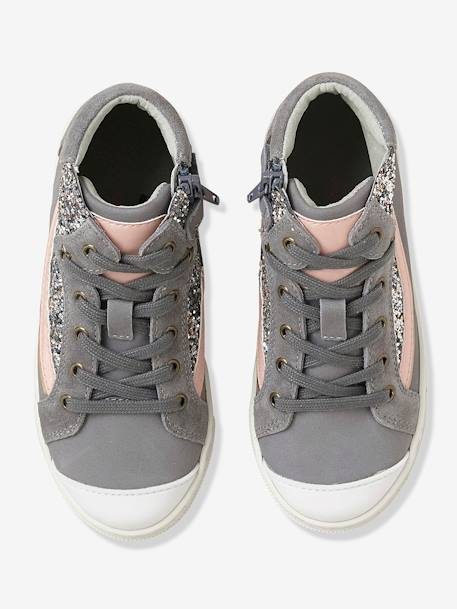 Girls' Leather High-Top Trainers with Glitter GREY MEDIUM SOLID WITH DESIGN