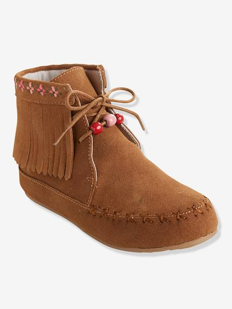Girls' Leather Boots, with Embroidery & Fringes BLACK DARK SOLID+BROWN LIGHT SOLID+BROWN MEDIUM SOLID