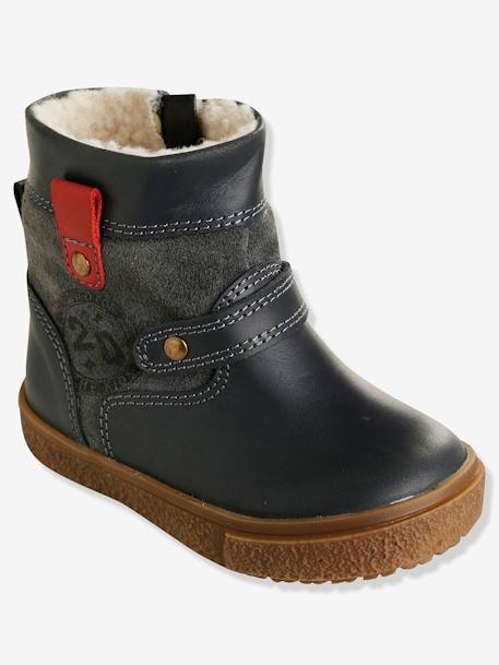 Boys' Leather Boots with Fur GREY DARK SOLID