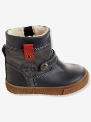 Shoes-Boys' Leather Boots with Fur