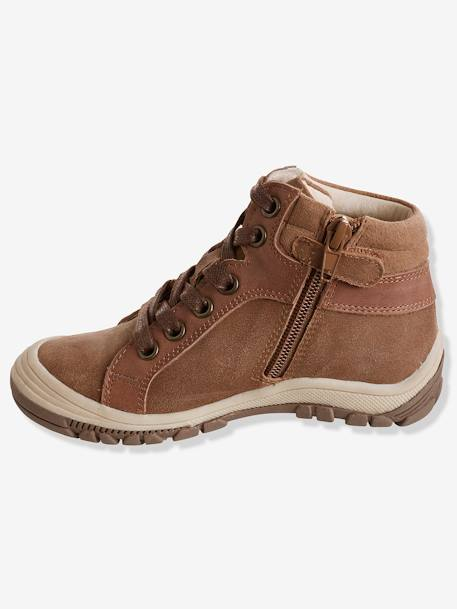 Boys' Leather Boots with Laces BROWN LIGHT SOLID