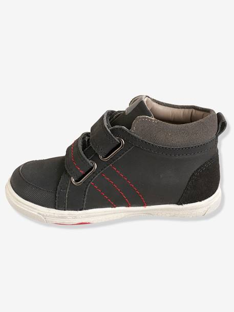 Boys' Leather High-Top Trainers, Autonomy Collection BLACK DARK SOLID+BROWN LIGHT SOLID