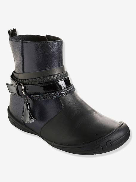Girls' Leather Boots with Stylish Tabs BLACK DARK SOLID