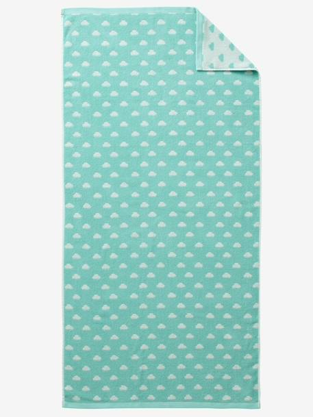 Bath Towel BLUE MEDIUM ALL OVER PRINTED+Green/cloud