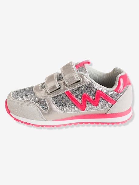 Girls' Glittery Trainers with Touch 'n' Close Tabs BLACK DARK SOLID WITH DESIGN+GREY MEDIUM METALLIZED+PINK LIGHT SOLID