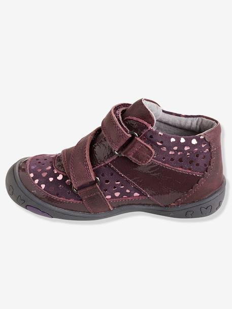 Girls' Leather Boots, Designed for Autonomy BLACK DARK SOLID+PINK LIGHT SOLID WITH DESIGN+PURPLE DARK SOLID WITH DESIGN