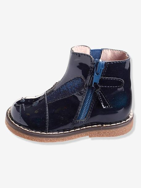 Girls' Patent Leather Boots BLUE DARK SOLID