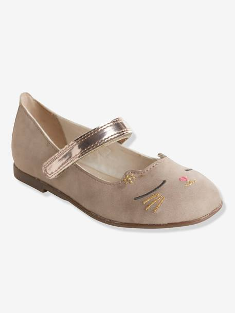 Ballerinas with Touch 'n' Close Fastening BEIGE DARK SOLID