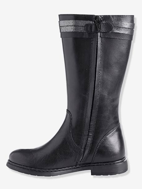 Girls' Riding-Style Boots BLACK DARK SOLID