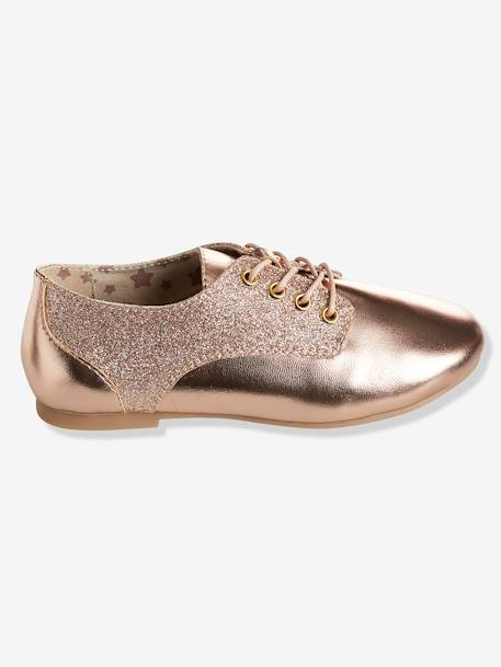 Girls' Derby Shoes with Glittery Detail PINK LIGHT SOLID