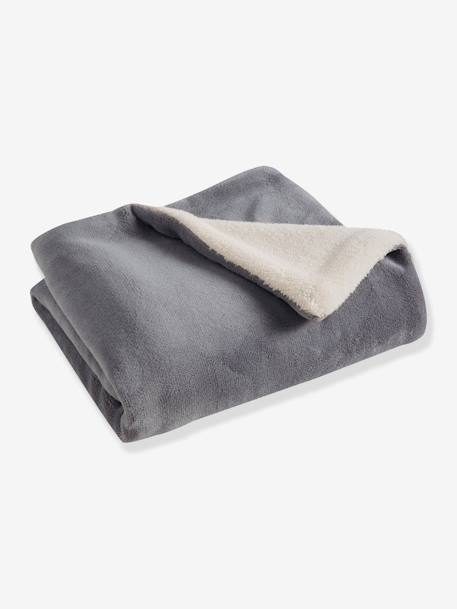 Microfibre Blanket with Sheepskin Lining Grey / Cream+PINK LIGHT SOLID