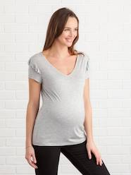 Maternity-T-shirts & Tops-Maternity T-Shirt with Frilled Sleeves