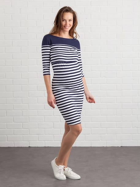 Maternity & Nursing Tube Dress BLACK DARK SOLID+BLUE DARK STRIPED+GREY LIGHT MIXED COLOR