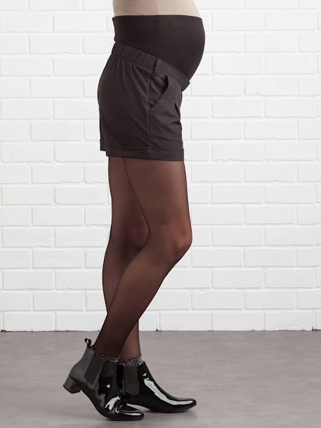Maternity Shorts in Loose-Fitting Crepe BLACK DARK SOLID