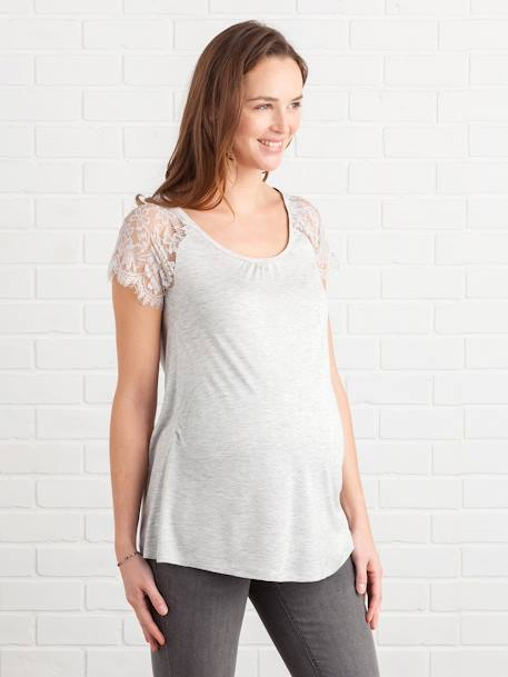 Maternity T-Shirt with Lace BLUE DARK SOLID+GREY LIGHT MIXED COLOR+RED DARK SOLID