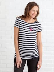 Navy-Style Maternity Jumper with Badges