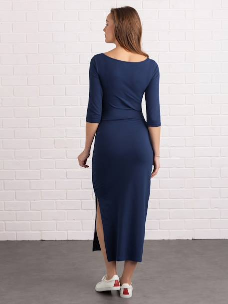 Long Maternity Tube Dress, with Slit BLUE DARK SOLID