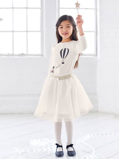 Girls' Glittery Tulle Skirt GREY LIGHT SOLID+PINK LIGHT SOLID+WHITE LIGHT SOLID