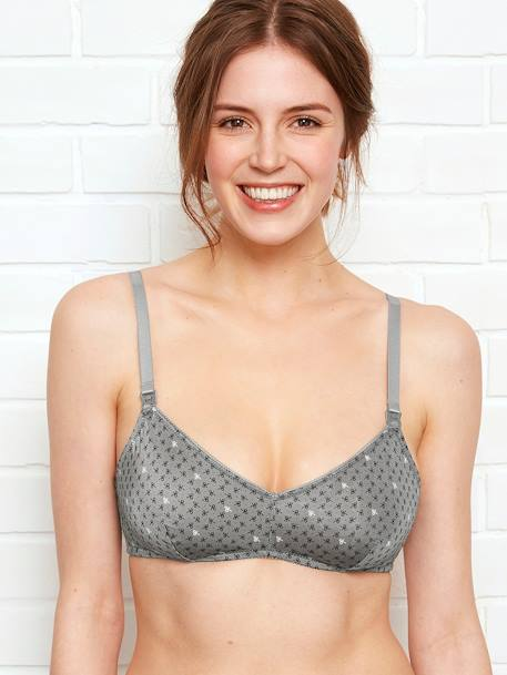 Triangle Shape Nursing Bra, Printed Velvet GREY DARK ALL OVER PRINTED+GREY LIGHT MIXED COLOR+PINK LIGHT ALL OVER PRINTED