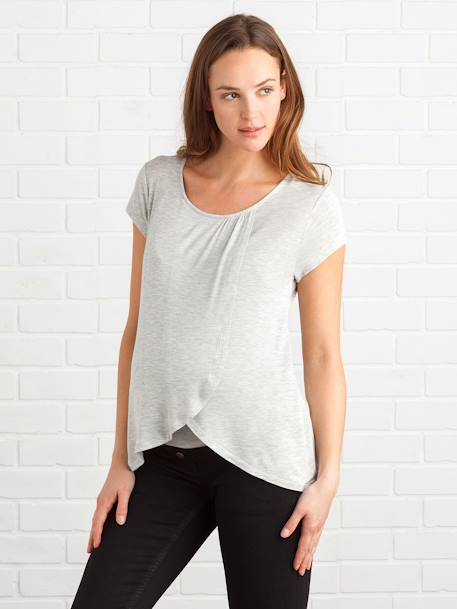 Maternity & Nursing Cross-Over T-Shirt Black+Grey marl+Printed ecru