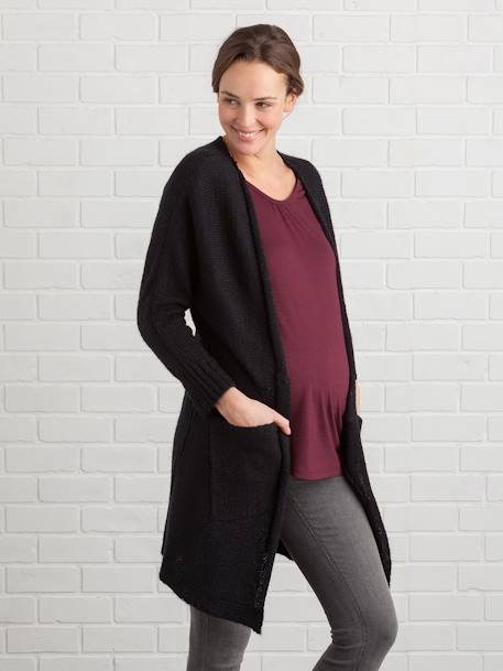 Maternity Mohair Cardigan BLACK DARK SOLID+PINK LIGHT SOLID