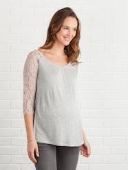 Maternity-T-shirts & Tops-Long-Sleeved Maternity T-Shirt with Lace