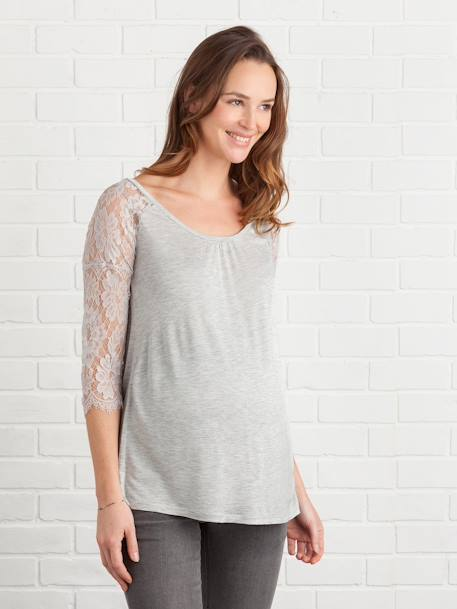 Long-Sleeved Maternity T-Shirt with Lace BLACK DARK SOLID+GREY LIGHT MIXED COLOR