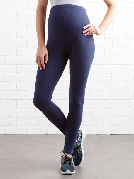 Long Maternity Leggings Black+BLUE BRIGHT SOLID