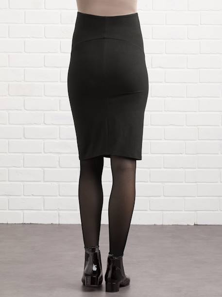 Long Maternity Tube Skirt BLACK DARK SOLID