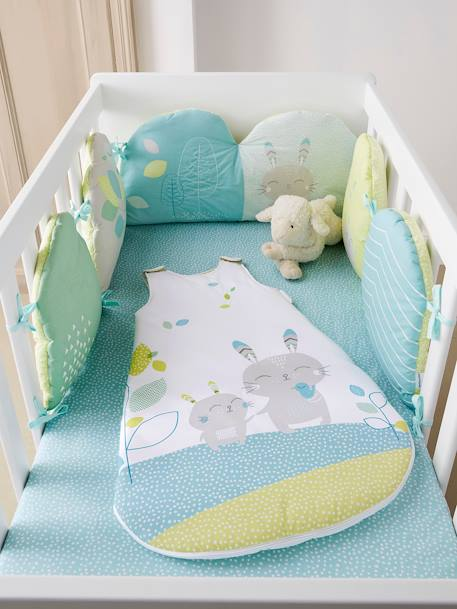 Adaptable Cot Bumper, Northern Dream Theme green/white