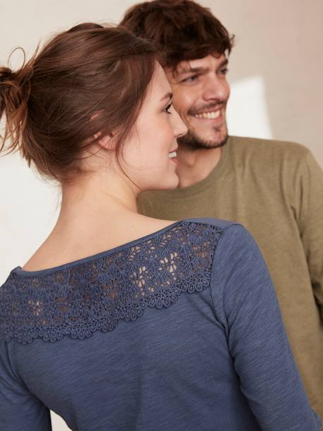 Long-Sleeved Maternity T-Shirt, Embroidered on the Back BLACK DARK SOLID+BLUE DARK SOLID+GREEN DARK SOLID