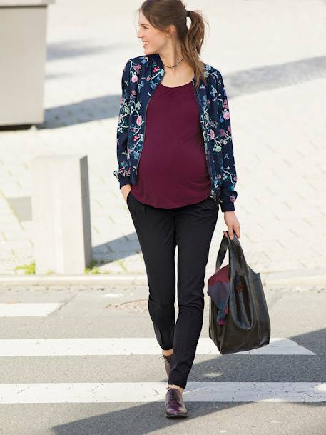 All-Over Print Maternity Bomber Jacket BLUE DARK ALL OVER PRINTED