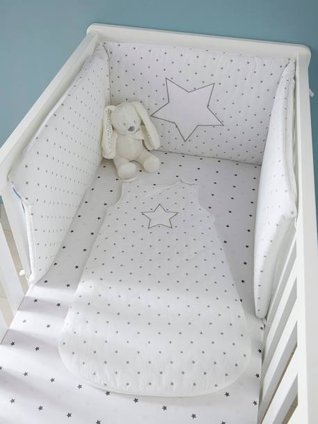 Baby Fitted Sheet, Star Shower Theme WHITE LIGHT ALL OVER PRINTED